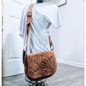 Vintage Rawhide Leather Boho Crossbody Bag